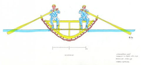 Tværsnit i Nydambåden efter Nationalmuseets rekonstruktion, 2000, skitse af Morten Gøthche, Vikingeskibsmuseet 2003.
